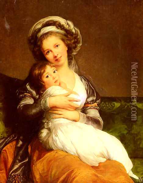 Madame Vigee-Lebrun et sa fille, Jeanne-Lucie-Louise (Mrs Vigee-Lebrun and her daughter, Jeanne-Lucie-Louise) Oil Painting - Elisabeth Vigee-Lebrun