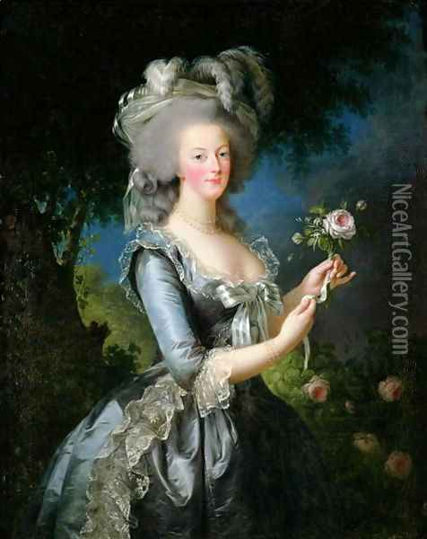 Marie Antoinette 1755-93 with a Rose, 1783 Oil Painting - Elisabeth Vigee-Lebrun