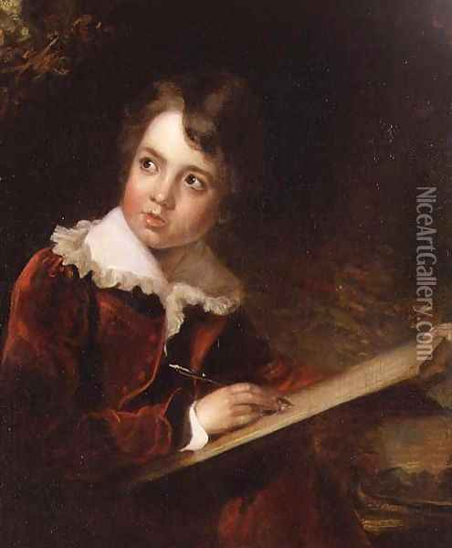 Young Boy Writing Oil Painting - Elisabeth Vigee-Lebrun
