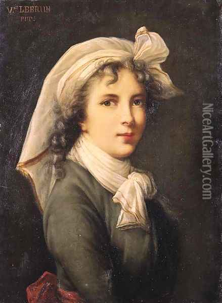 Portrait of the artist, small half length, wearing a green costume with red belt, white scarf and white headdress Oil Painting - Elisabeth Vigee-Lebrun