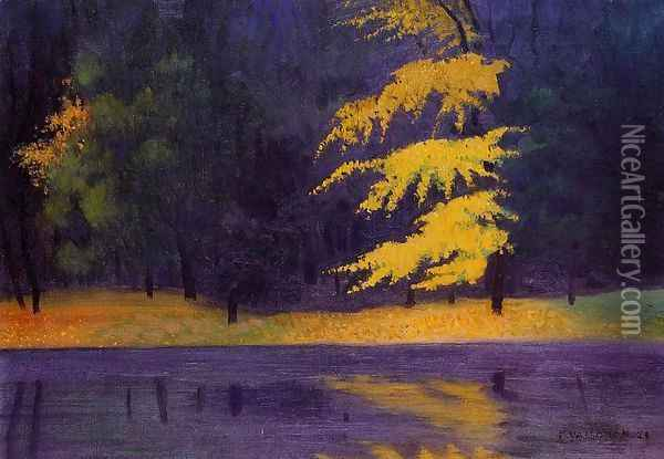 The Lake in the Bois de Boulogne Oil Painting - Felix Edouard Vallotton