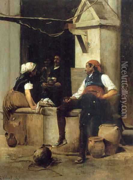 Chatting By The Fountain Oil Painting - Jehan Georges Vibert