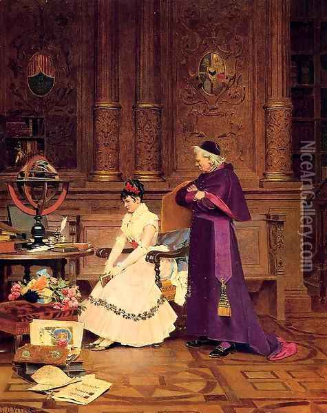 The Reprimand Oil Painting - Jehan Georges Vibert