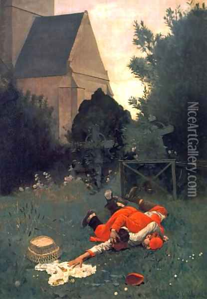 Scramble For The Lunch Oil Painting - Jehan Georges Vibert