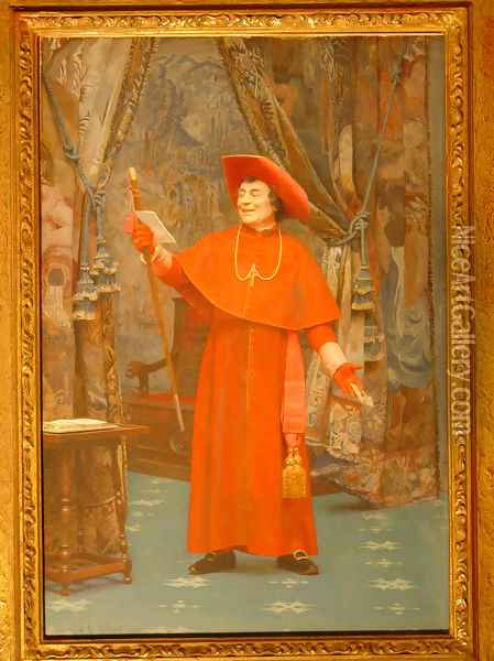 Cardinal Reading A Letter Oil Painting - Jehan Georges Vibert