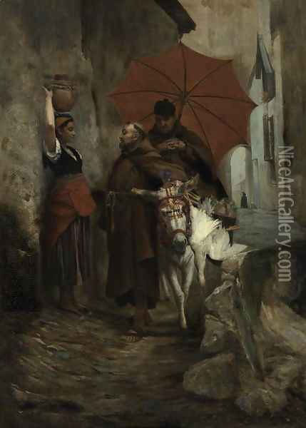 The Distraction Oil Painting - Jehan Georges Vibert