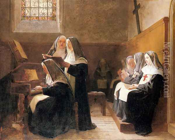 The Convent Choir Oil Painting - Jehan Georges Vibert
