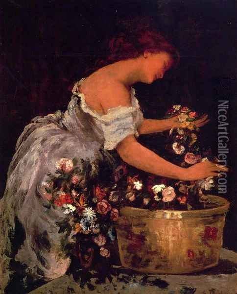 Young Girl Arranging Flowers Oil Painting - Jehan Georges Vibert