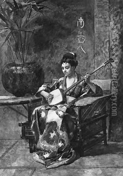 An Oriental Woman Playing A Shamisen Oil Painting - Jehan Georges Vibert