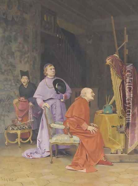 The Connoisseur Oil Painting - Jehan Georges Vibert