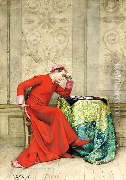 The next move Oil Painting - Jehan Georges Vibert