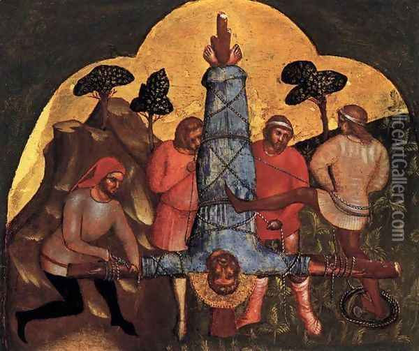 Crucifixion of Peter c 1370 Oil Painting - Lorenzo Veneziano