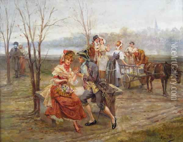 Courting Couples At The Riverside Oil Painting - Alonso Perez