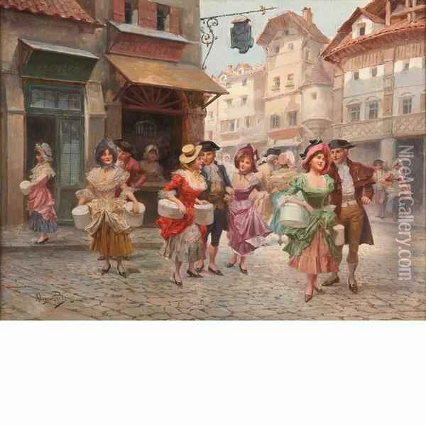 Couples On A Street Oil Painting - Alonso Perez