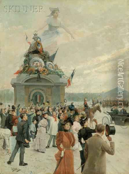 Allegorical View Of A Bastille Day Parade Oil Painting - Alonso Perez