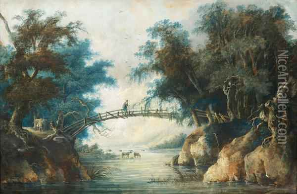 Landscape With A Woman On A Bridge Oil Painting - Louis Belanger