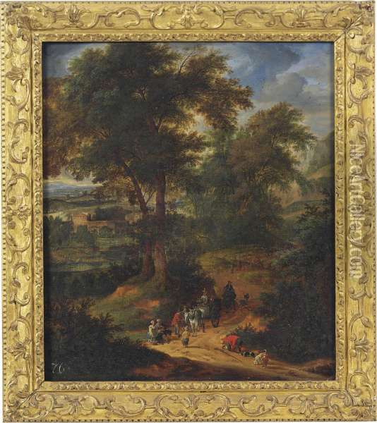 A Wooded Landscape With Travellers On A Track Oil Painting - Peeter Bout