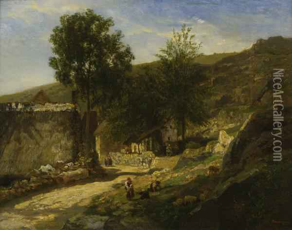 Entrance To The Village Oil Painting - Charles-Francois Daubigny