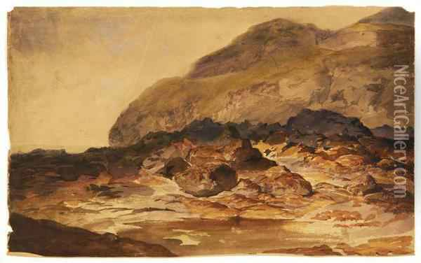 Les Rochers Oil Painting - Eugene Isabey