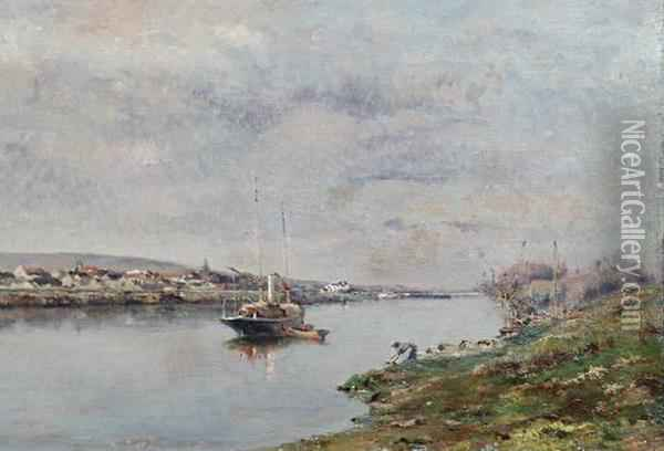 Boat On A Still River Oil Painting - Marie Joseph Leon Clavel Iwill