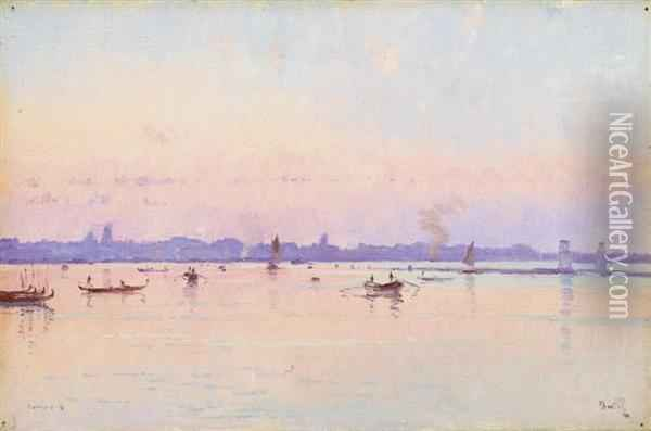 View Of Venice. Oil Painting - Marie Joseph Leon Clavel Iwill