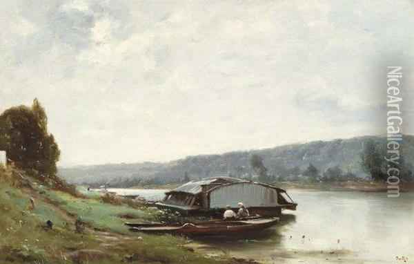 Bords De La Seine Environs De Paris Oil Painting - Marie Joseph Leon Clavel Iwill