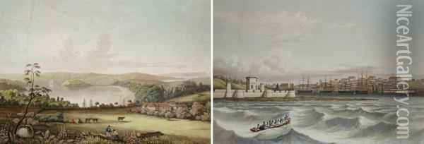 Pair Of Early Views Of Sydney I. Sydney Oil Painting - Lauvergne, Barthelemy