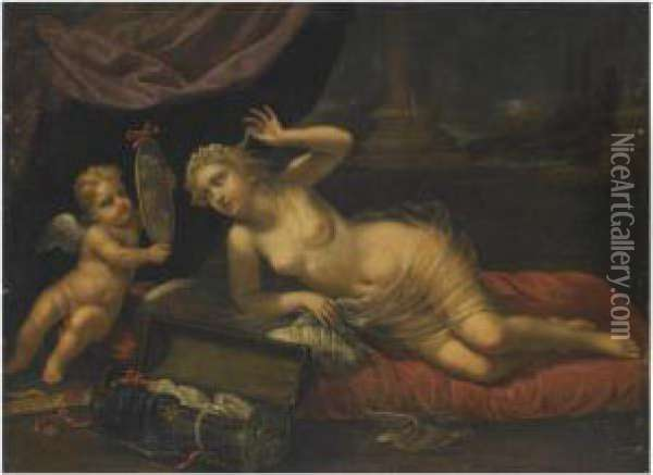 Venus At Her Toilet Accompanied By Cupid Oil Painting - Benedetto Gennari