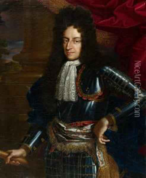 Portrait Of The Future King William Iii Of Greatbritain.1674/1677. Oil Painting - Benedetto Gennari