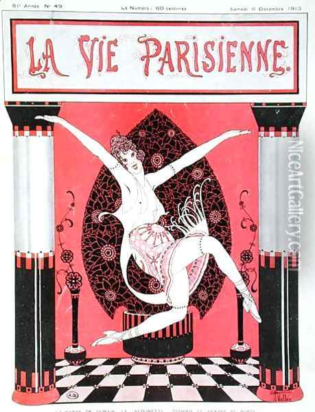 The arrival of the 'Bedonette' dance, front cover of La Vie Parisienne, 6th December, 1913 Oil Painting - Armand Vallee