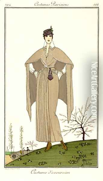 Travel Dress, from Costumes Parisiens 1914 Oil Painting - Armand Vallee