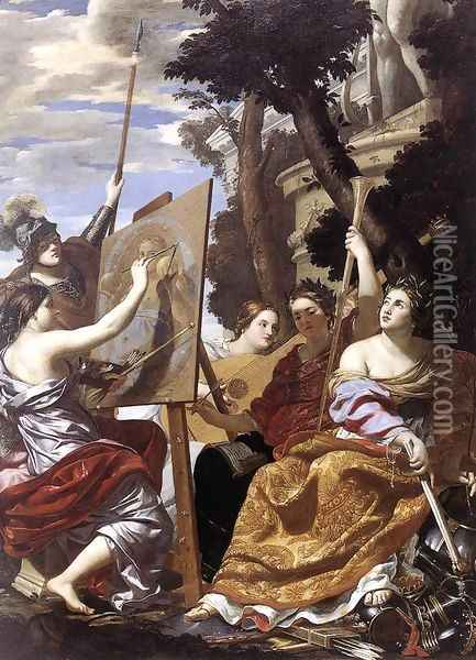 Allegory of Peace c. 1627 Oil Painting - Simon Vouet