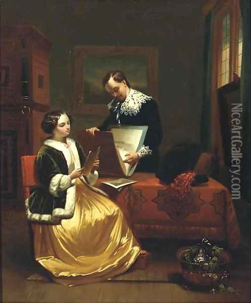 The art lovers Oil Painting - Johannes Christoffel Vaarberg