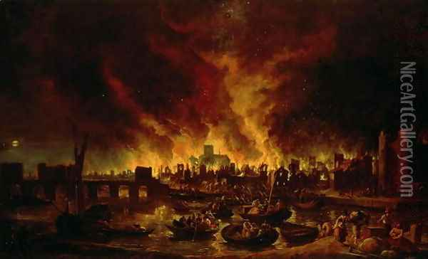 The Great Fire of London in 1666 Oil Painting - Lieve Verschuier