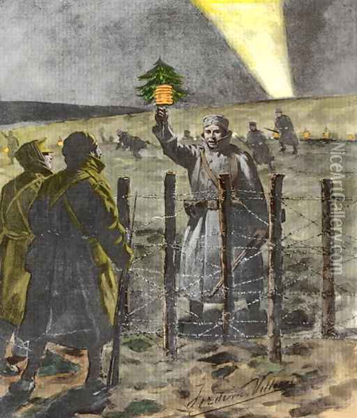 The Christmas Day Truce of 1914, published 1915 2 Oil Painting - Villiers, Frederic