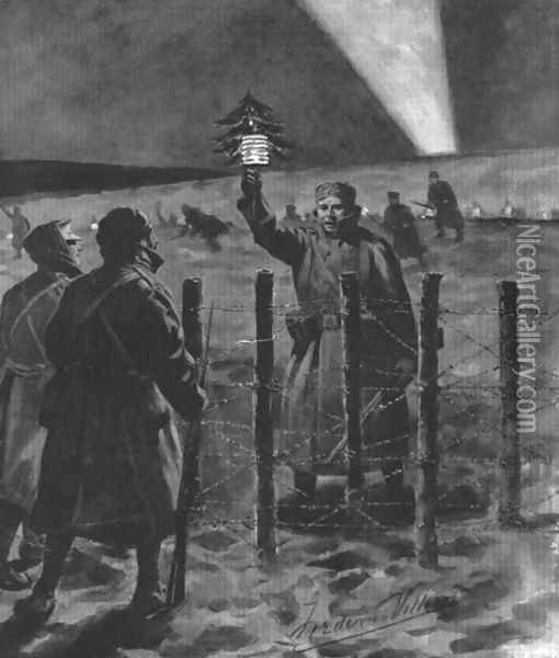 The Christmas Day Truce of 1914, published 1915 Oil Painting - Villiers, Frederic