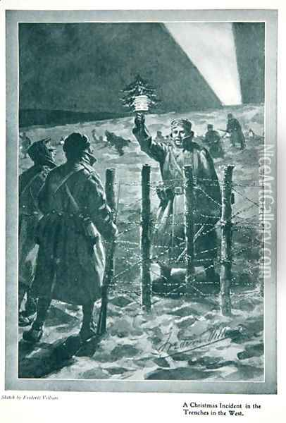 The Christmas Day Truce of 1914, from The Year 1915: a Record of Notable Achievements and Events, 1915 Oil Painting - Villiers, Frederic