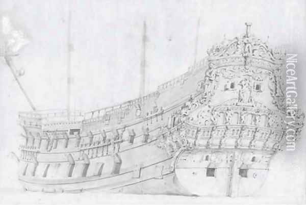 Study of a Dutch warship observed from the stern Oil Painting - Willem van de, the Elder Velde