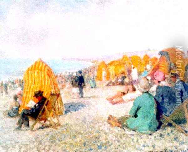 The Beach in Dieppe (1929) Oil Painting - Nicolae Vermont