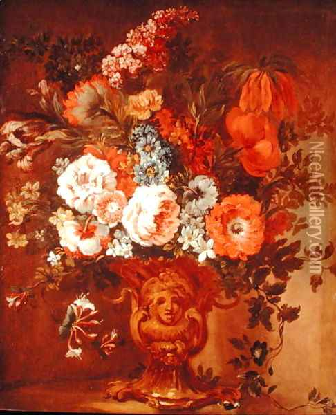 Roses, Poppies, Honeysuckle, Stock and Other Flowers in a Sculpted Vase Oil Painting - Gaspar Peeter The Elder Verbruggen