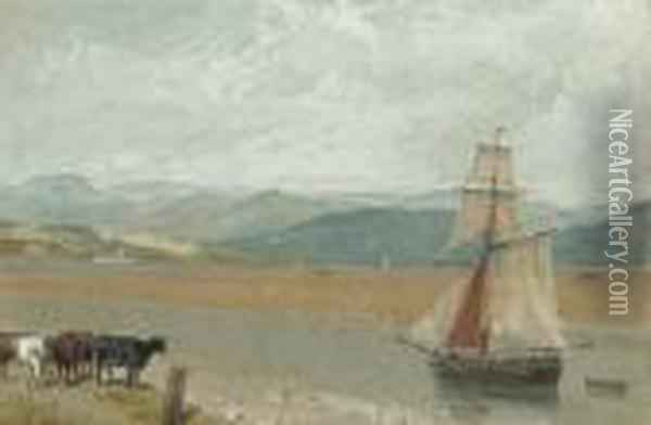 The Estuary Of The River Leven Near Ulverston, Cumbria Oil Painting - William Daniell RA