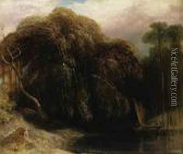 V Wooded River Landscape With A  Tiger Stalking A Fishing Boat Inthe Sunderbans, East Bengal Oil Painting - William Daniell RA