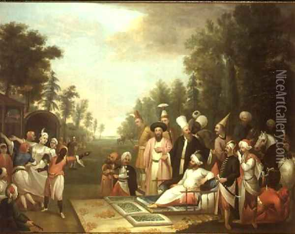 The Turkish Hunting Party, 18th century Oil Painting - Jean Baptiste Vanmour