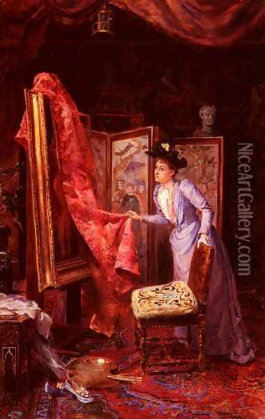 Il Studio Da Pittura (The Painting Studio) Oil Painting - Achille Vianelli