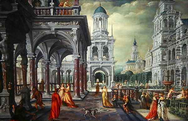 Bathseba and David with an Architectural Background Oil Painting - Hans Vredeman de Vries