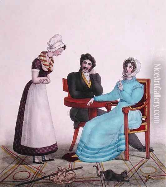 And above all else, be good, caricature of a couple talking to their maid before she leaves, c.1820-30 Oil Painting - Villain