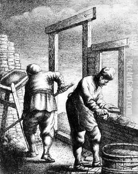 Bricklayers, from a series depicting trades and professions, c.163 Oil Painting - Jan Georg van Vliet
