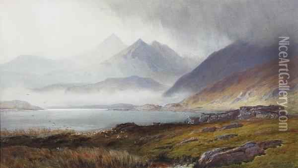 The Five Sisters Of Kintail, Scotland Oil Painting - Henry Andrew Harper