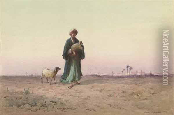 The Lost Sheep (illustrated); And A Procession Oil Painting - Henry Andrew Harper