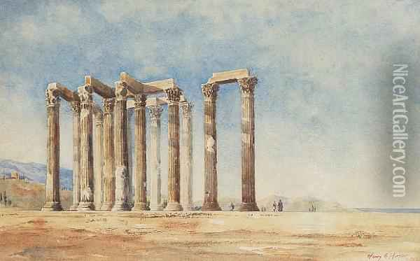 The Columns Of Olympius Zeus Oil Painting - Henry Andrew Harper